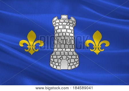 Flag of Nontron is a commune in the Dordogne department in Nouvelle-Aquitaine in southwestern France. 3D illustration