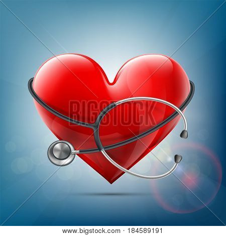 Medical Equipment Stethoscope Around A Red Human Heart. Donation Of Blood And Internal Organs. Healt