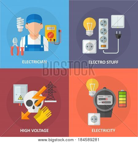 Icons of electricity and electrical equipment in a flat style. Electrical engineer services and energy security vector illustration.