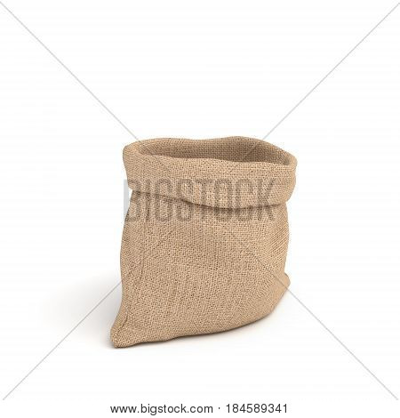 3d rendering of open canvas sacks isolated on white background. Transportation and delivery. Buying in bulk. Dry goods.
