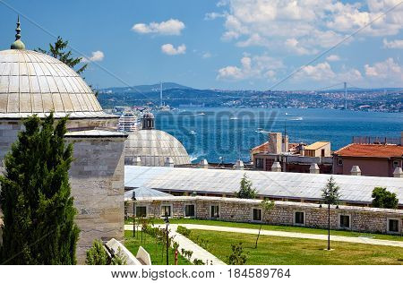 The View Of The Bosphorus From The Courtyard Of Suleymaniye Mosque, Istanbu
