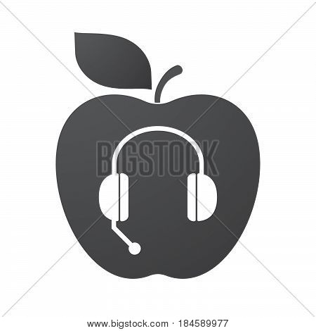 Isolated Apple Fruit With  A Hands Free Phone Device