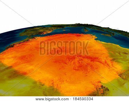 Algeria On Model Of Planet Earth