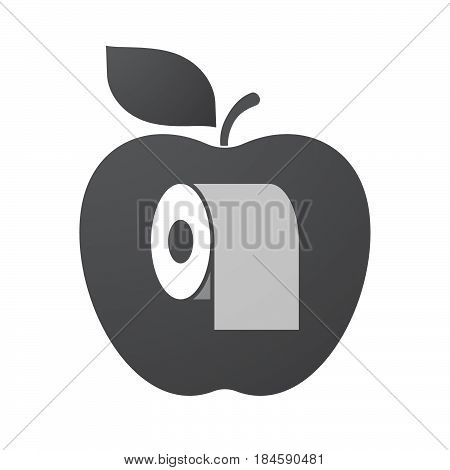 Isolated Apple Fruit With A Toilet Paper Roll