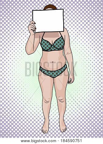 A fat woman in a swimsuit holds a sign pop art retro style. Front view. The concept of a healthy lifestyle and unhealthy lifestyle
