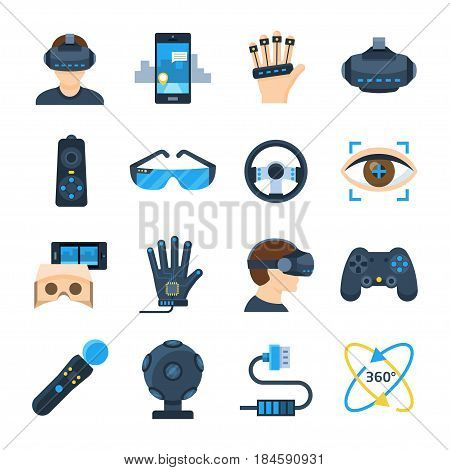 Virtual reality vector icon set in flat style on a white background. Gadgets and accessories for additional, virtual reality or its simulations. Playing virtual 360 degree games.