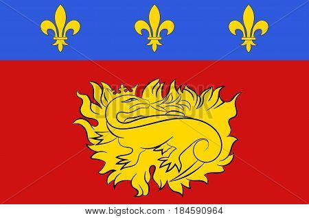 Flag of Sarlat-la-Caneda is a commune in the Dordogne department in Nouvelle-Aquitaine in southwestern France. Vector illustration