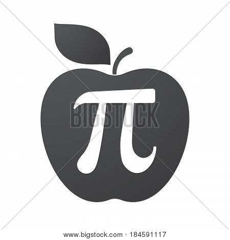 Isolated Apple Fruit With The Number Pi Symbol