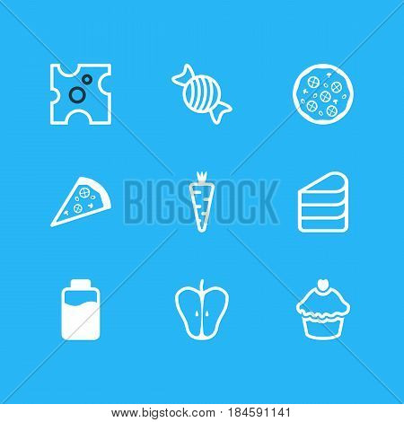 Vector Illustration Of 9 Meal Icons. Editable Pack Of Caramel, Muffin, Jonagold And Other Elements.