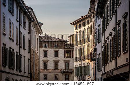 Evening street in Bergamo, Italy in the spring