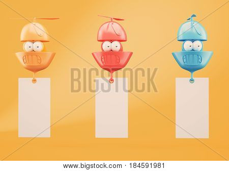 Three colorful flying character with blank banners on orange background. 3d rendering