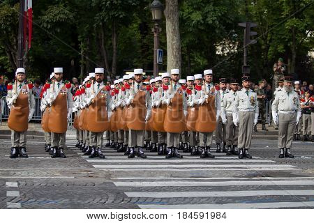 Paris. France. July 14 2012. The ranks of the pioneers of the French foreign legion during parade time on the Champs Elysees in Paris.