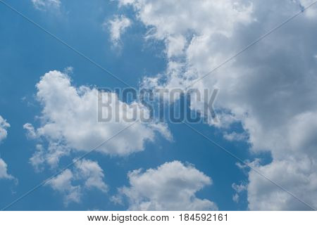 blue skies seen through the white clouds