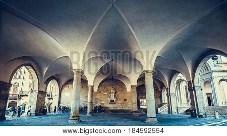 Central area of Bergamo, Piazza Vecchia. Italy