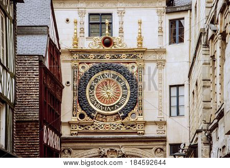 Clock tower in the city of Rouen in Normandy