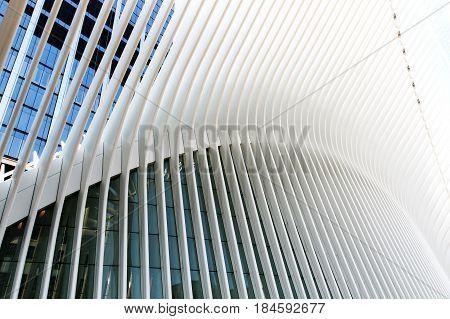 New York April 28 2017: View of Oculus - World Trade Center Transportation Hub.