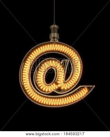 At sign, Email symbol made of light bulb. 3D illustration