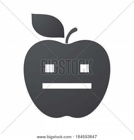 Isolated Apple Fruit With A Emotionless Text Face