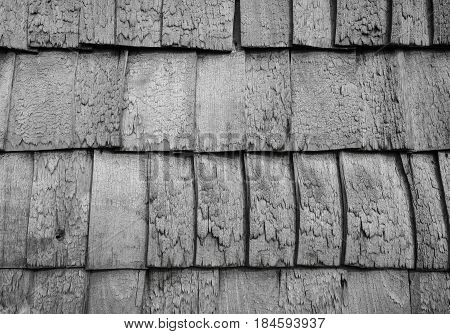 Vintage worn down roof panels background view