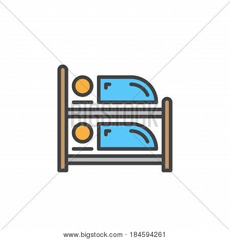 Bunk bed line icon filled outline vector sign linear colorful pictogram isolated on white. Symbol logo illustration