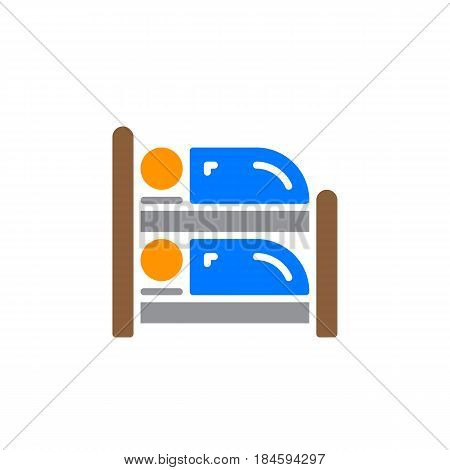 Bunk bed icon vector filled flat sign solid colorful pictogram isolated on white. Symbol logo illustration