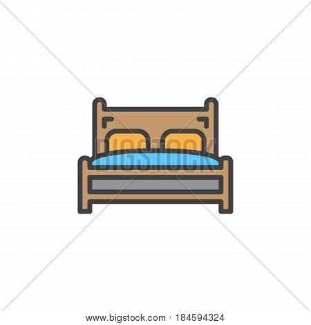 Double bed line icon filled outline vector sign linear colorful pictogram isolated on white. Symbol logo illustration