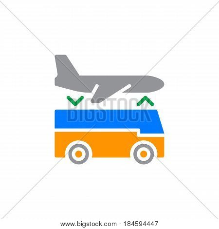 Airport shuttle transfer service icon vector filled flat sign solid colorful pictogram isolated on white. Symbol logo illustration