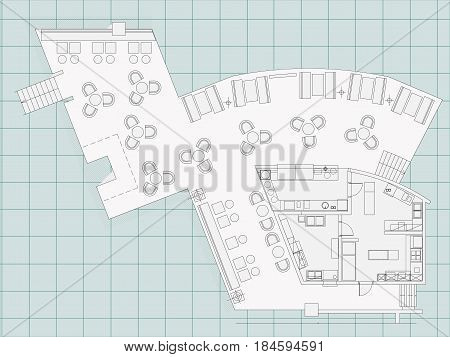 Standard furniture symbols used in architecture plans icons set, office planning icon set, graphic design elements. Small cafe, restaurant, beer pub - top view plans. Vector isolated.Blueprint.