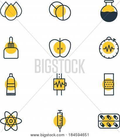Vector Illustration Of 12 Medical Icons. Editable Pack Of Pressure Gauge, Round Tablet, Vaccinator And Other Elements.