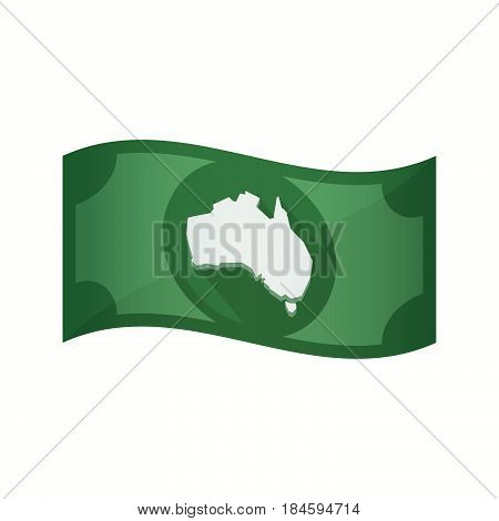 Isolated Bank Note With  A Map Of Australia