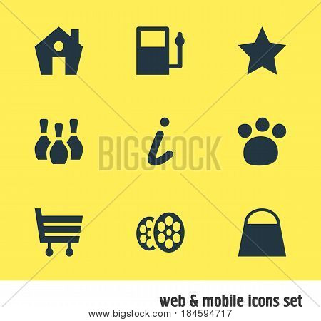 Vector Illustration Of 9 Check-In Icons. Editable Pack Of Film , Skittles, Handbag Elements.