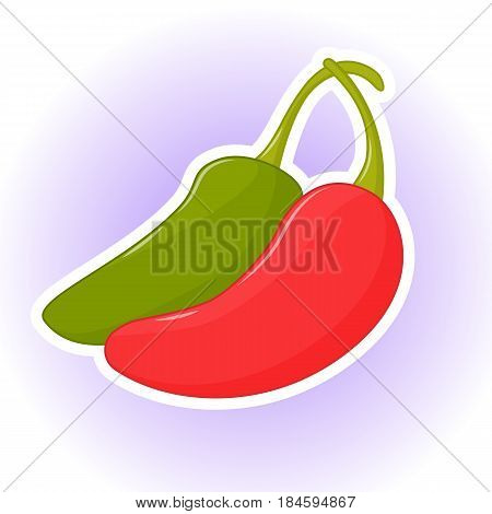 Colorful abstract background with red and green hot chili peppers or jalapeno. Poster, sticker or symbol in simple cartoon style for Cinco de Mayo. Vector illustration. Holiday Collection.