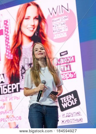 Moscow, Russia - April 7, 2017: Famous Russian blogger and vlogger Sasha Spilberg on the stage during Conference