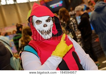 Moscow, Russia - April 23, 2017: People attend the Hinode Power Japan festival dedicated to Japanese culture, video games, comics, anime, manga, cosplay
