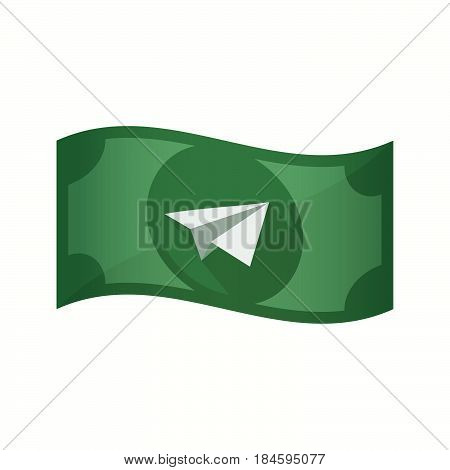 Isolated Bank Note With A Paper Plane