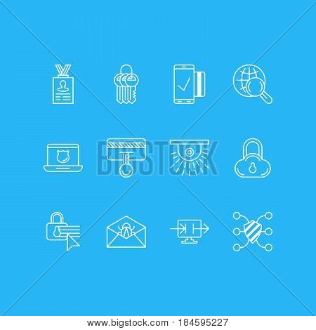 Vector Illustration Of 12 Protection Icons. Editable Pack Of Key Collection, Easy Payment, Safeguard And Other Elements.