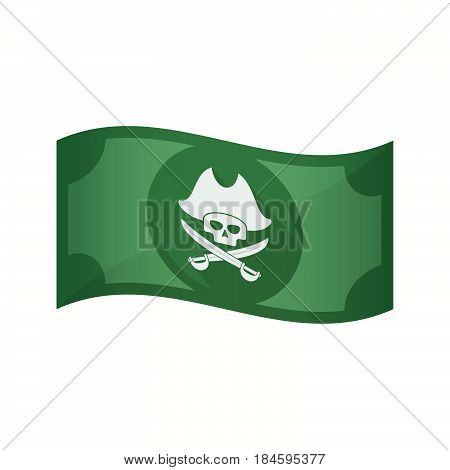 Isolated Bank Note With A Pirate Skull