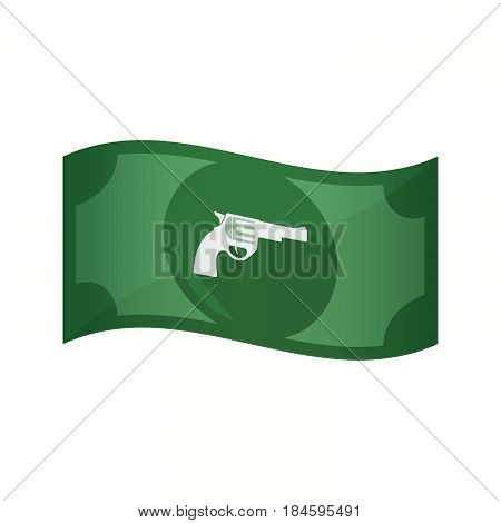 Isolated Bank Note With A Gun