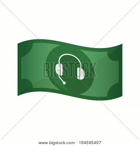 Isolated Bank Note With  A Hands Free Phone Device