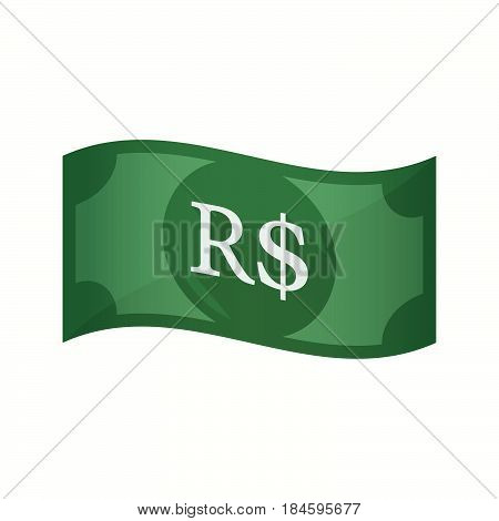 Isolated Bank Note With A Brazillian Real Currency Sign