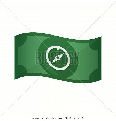 Isolated Bank Note With A Compass