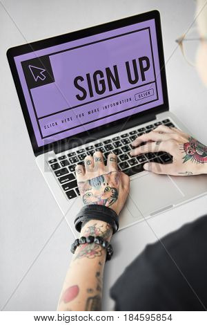 Sign up in text with mouse pointer icon