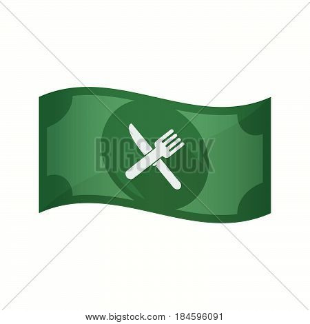 Isolated Bank Note With A Knife And A Fork