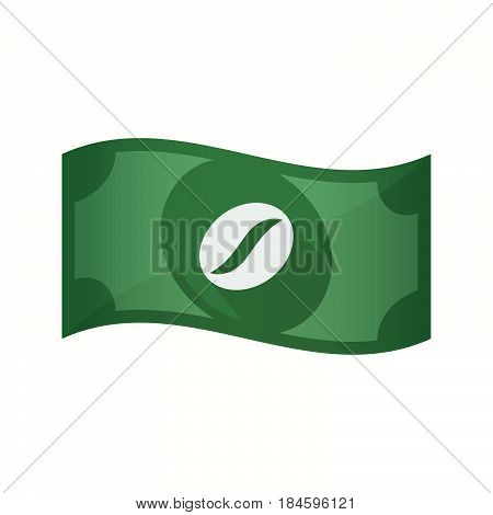 Isolated Bank Note With A Coffee Bean