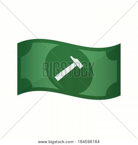Isolated Bank Note With A Hammer