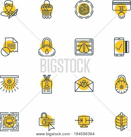 Vector Illustration Of 16 Data Icons. Editable Pack Of Finger Identifier, Camera, Safety Key And Other Elements.