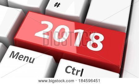 Computer keyboard with 2018 key three-dimensional rendering 3D illustration