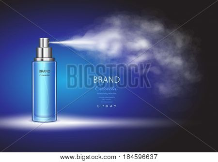 Spray bottle, ice toner container on blue background Premium ads template.