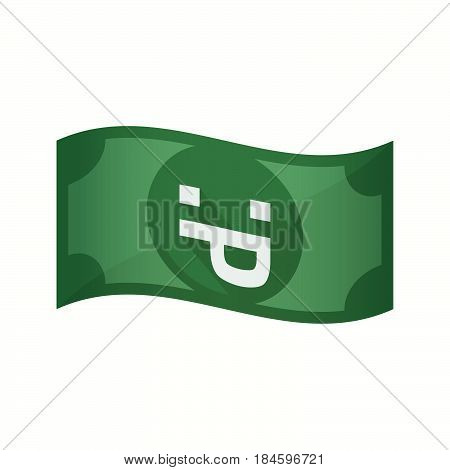 Isolated Bank Note With A Sticking Out Tongue Text Face