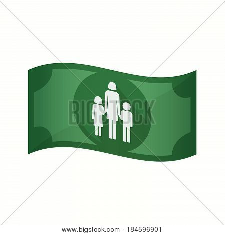 Isolated Bank Note With A Female Single Parent Family Pictogram